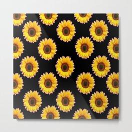 Black Color Sunflowers Pattern  Art Metal Print