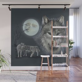 Picture of a wolf in a moonlit night Wall Mural