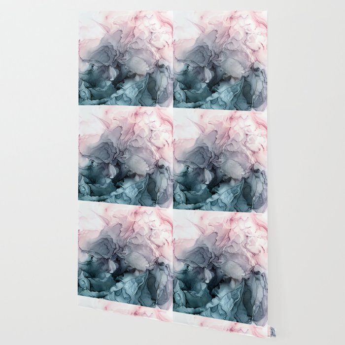 Blush and Payne's Grey Flowing Abstract Painting Wallpaper