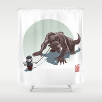 kiki Shower Curtains featuring Kiki le petit loup by Alexandre Guillaume