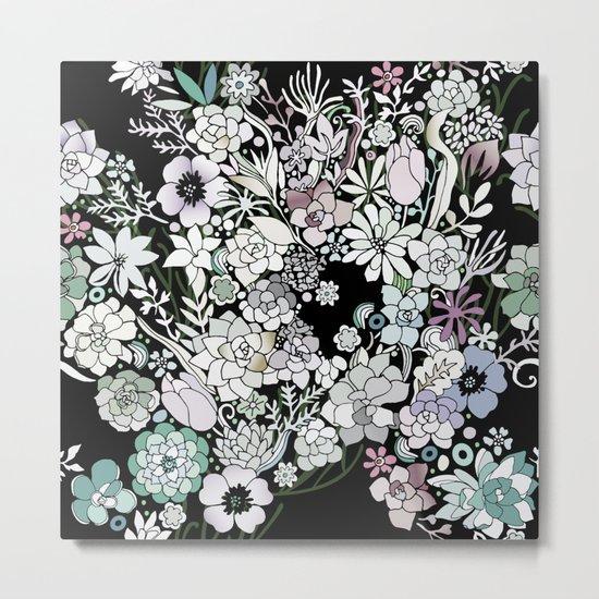 Colorful black detailed floral pattern Metal Print