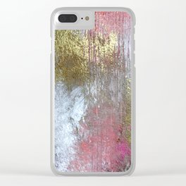 Golden Girl: a pretty abstract mixed media piece in pink, white, gold, and gray Clear iPhone Case