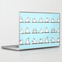 bunnies Laptop & iPad Skins featuring Bunnies Yoga by Huebucket
