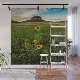Sunflowers on the Western Prairie - Flowers and Landscape Near Scottsbluff Nebraska Wall Mural