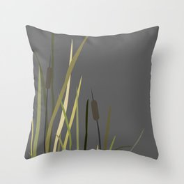 Bush of Swamp Reed on a Lake.  Throw Pillow