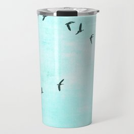 GEESE FLYING - TURQUOISE Travel Mug