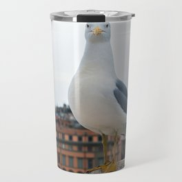 Macro portrait of seagull sitting on the top of building in Roma Italy Travel Mug