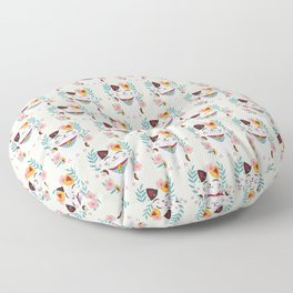 Japanese Lucky Cat with Cherry Blossoms Floor Pillow