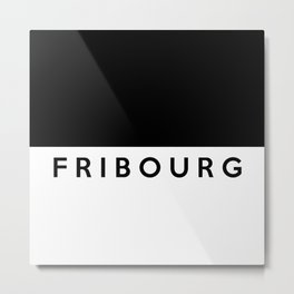 fribourg region switzerland country flag name text swiss Metal Print