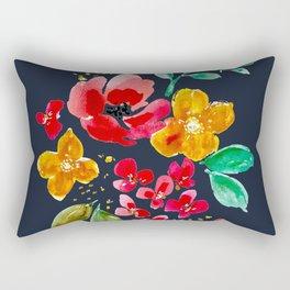 Red Poppy on Deep Navy Rectangular Pillow