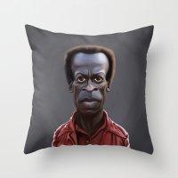 miles davis Throw Pillows featuring Celebrity Sunday ~ Miles Dewey Davis by rob art | illustration
