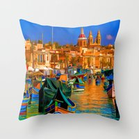 channel Throw Pillows featuring The Channel by Tami Cudahy
