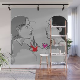 The Girl With Two Hearts Wall Mural