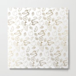 White faux gold modern sweet fruit pattern Metal Print