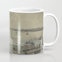 Vintage Panoramic Map of NYC, Jersey City & Staten Island Coffee Mug