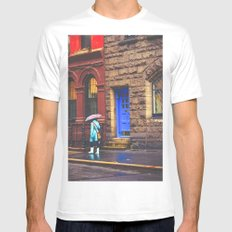 New York City Rainy Afternoon White Mens Fitted Tee MEDIUM