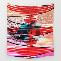 dexter Wall Tapestries featuring Multiplanar Boxer: Dexter with Frisbee by NeuroScipArt