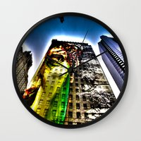 mike wrobel Wall Clocks featuring Mike by Klezmatik