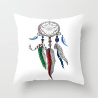 dreamcatcher Throw Pillows featuring Dreamcatcher by Ina Spasova puzzle
