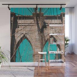 Pop art, Brooklyn bridge photo, New York City, fine art photography, I love NYC Wall Mural