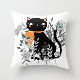 Kitty Kitty Sitting Pretty With Flowers All Around Throw Pillow