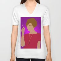 mad men V-neck T-shirts featuring Joan Holloway - Mad Men by Tom Storrer