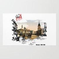 poland Area & Throw Rugs featuring Poland, Warsaw 1890-1900 by viva la revolucion
