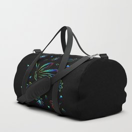 Greeting card with flowers and butterflies in neon. Butterflies and flowers and colored fragments on Duffle Bag