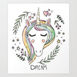 Cute Unicorn Art Print