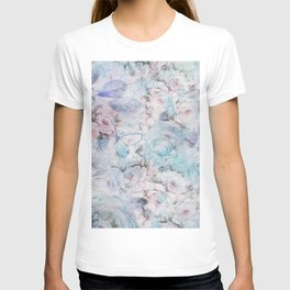 Shabby vintage pastel pink teal floral butterfly typography T-shirt