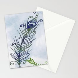 Watercolor Peacock Feather Stationery Cards