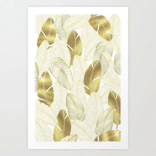 Gold tropical leaves pattern Art Print