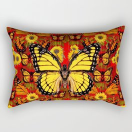 COFFEE BROWN MONARCH BUTTERFLY SUNFLOWERS Rectangular Pillow
