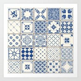 Blue Ceramic Tiles Art Print