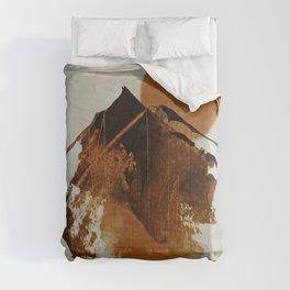 abstract mountains, rustic orange sunrise Comforters
