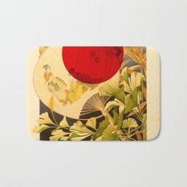 Japanese Ginkgo Hand Fan Vintage Illustration Bath Mat