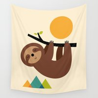 cartoons Wall Tapestries featuring Keep Calm And Live Slow by Andy Westface