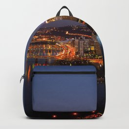 Pittsburgh, Pennsylvania Downtown Night Time River with Bridges Backpack