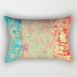 Brilliant Encounter, Abstract Art Turquoise Red Rectangular Pillow