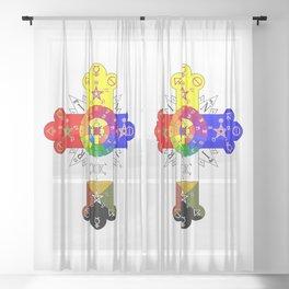 Freemasonic Rosy Cross Sheer Curtain