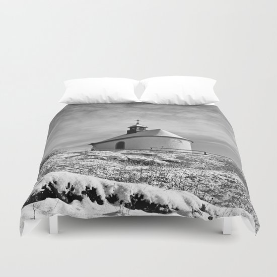 Chapel in the snow Duvet Cover