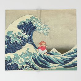 Ponyo and the Great Wave Throw Blanket