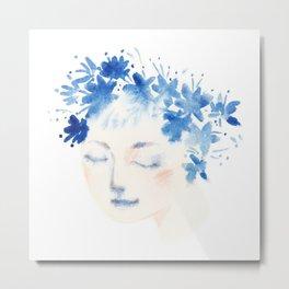 blue flowers girl Metal Print