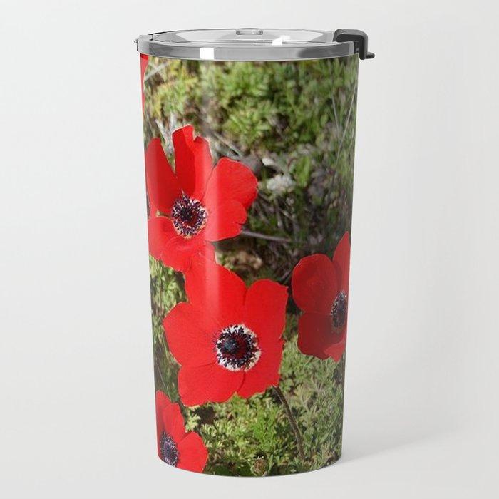 Wild Anemone Flowers In A Spring Field Travel Mug