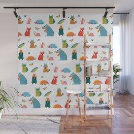 Scandinavian woodland animals pattern print Wall Mural