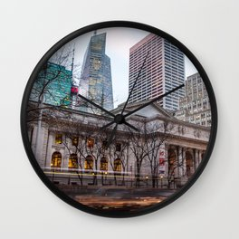 New York Public Library : old vs new buildings Wall Clock