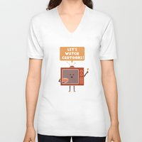 cartoons V-neck T-shirts featuring Weekend Mood by Teo Zirinis
