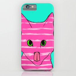 Neon Pink Striped Kitten Licking Her Nose With Aqua Background iPhone Case