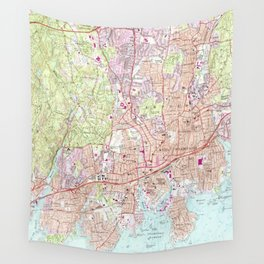 Stamford Connecticut Map (1987) Wall Tapestry