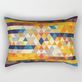 Geometric Triangle - Ethnic Inspired Pattern - Orange, Blue Rectangular Pillow
